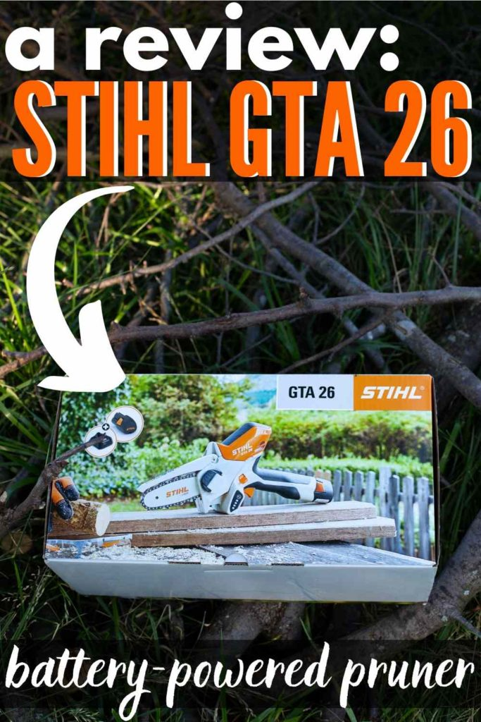 """STIHL GTA 26 in box on some twigs, sticks and yard debris - text """"a review stihl gta 26 battery powered pruner"""""""