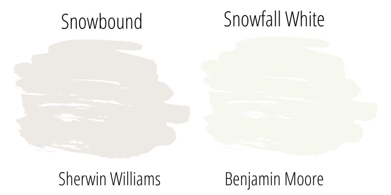 Paint Swatch side by side comparison: Sherwin Williams Snowbound vs. Benjamin Moore Snowfall White