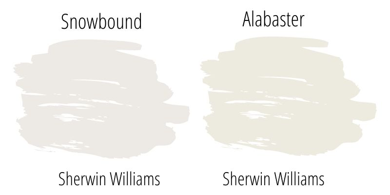 Paint Swatch side by side comparison: Sherwin Williams Snowbound vs. Sherwin Williams Alabaster