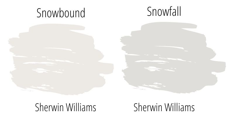 Paint Swatch side by side comparison: Sherwin Williams Snowbound vs. Sherwin Williams Snowfall
