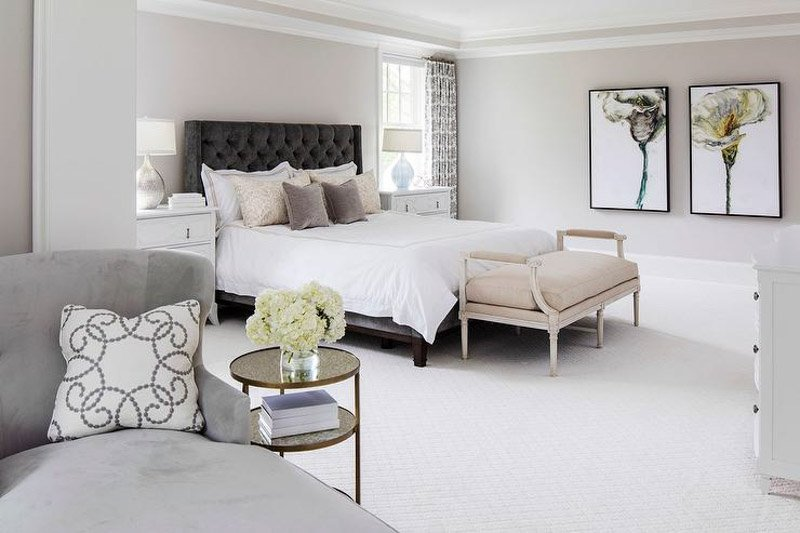 large bedroom with balboa mist walls and other neutral shades in the decor