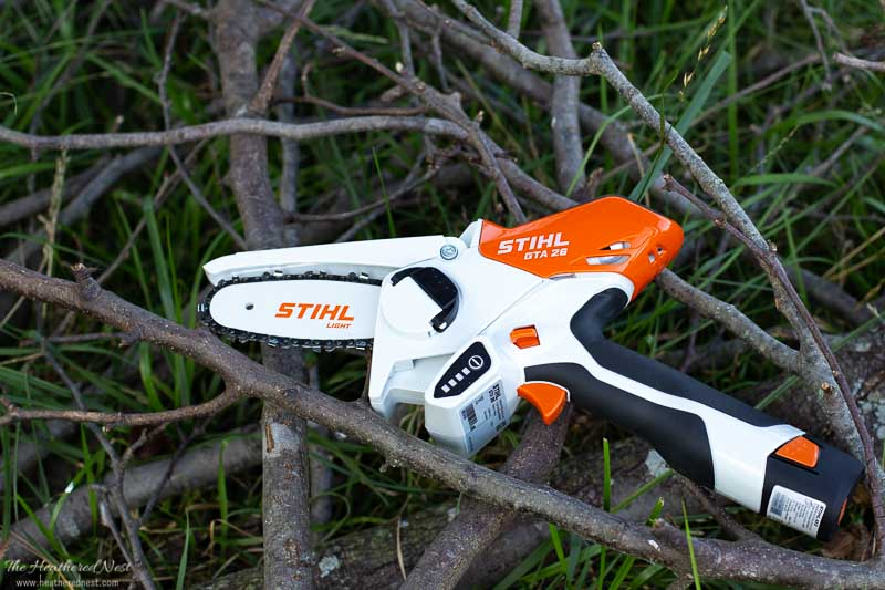 STIHL GTA 26 on some twigs, sticks and yard debris