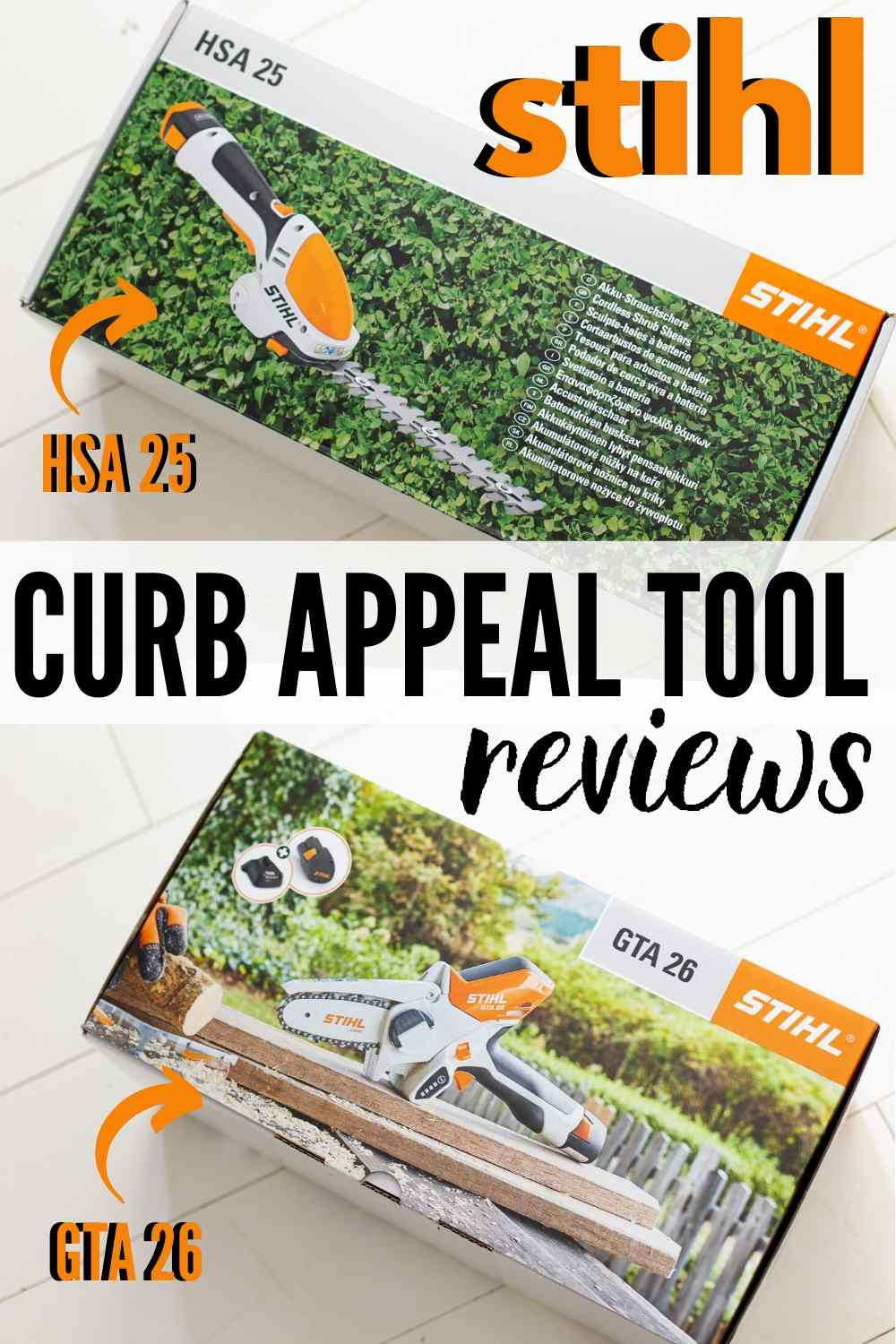 "STIHL GTA 26 and HSA 25 in boxes on white floor - text ""stihl curb appeal tool reviews hsa 25 and gta 26"""