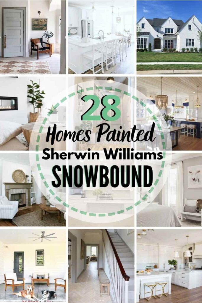 """grid with 12 rooms each painted Snowbound, text """"28 homes painted sherwin williams snowbound"""""""