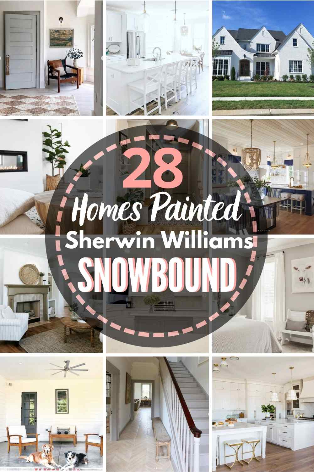 "grid with 12 rooms each painted Snowbound, text ""28 homes painted sherwin williams snowbound"""