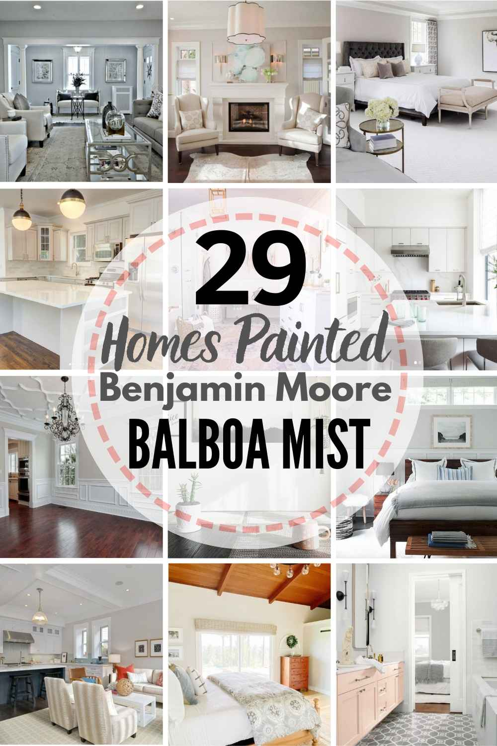 grid of homes painted Benjamin Moore Balboa Mist: See This Popular Greige In 29 REAL HOMES!