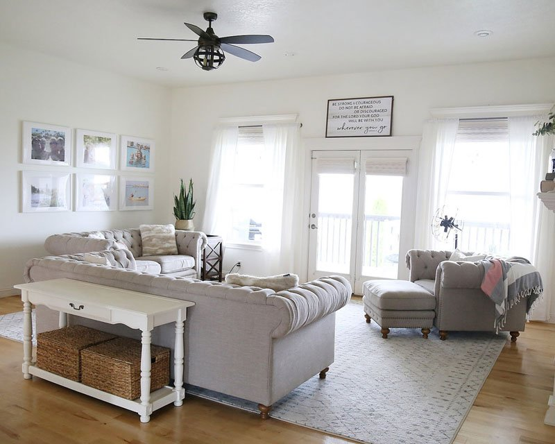 A living room painted Dover White