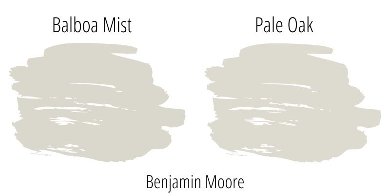 side by side swatch comparison: Benjamin Moore Balboa Mist versus Benjamin Moore Pale Oak