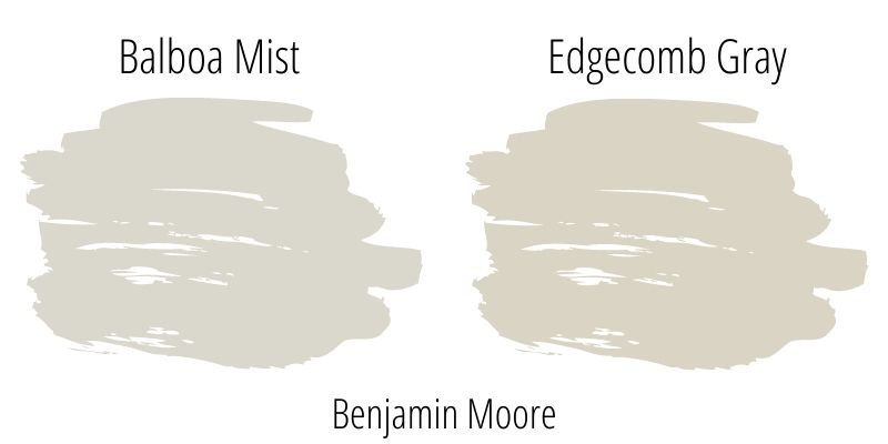 side by side swatch comparison: Benjamin Moore Balboa Mist versus Benjamin Moore Edgecomb Gray