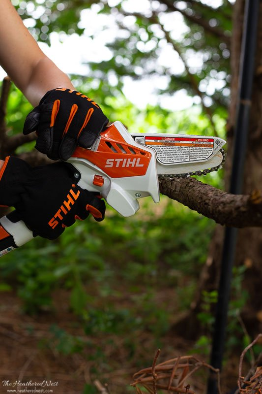 STIHL GTA-26 being used to prune branches