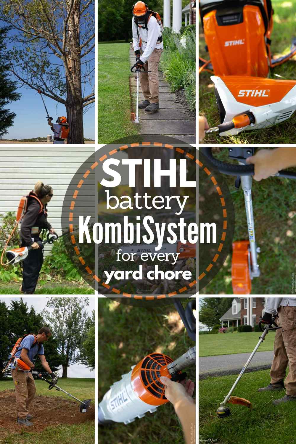 grid showing 9 different yard work chores each being done by a different STIHL battery KombiSystem attachment