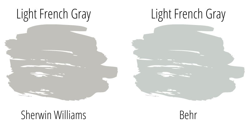 light french gray color swatch compared to Behr light french gray color swatch