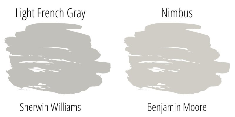 light french gray color swatch compared to benjamin moore nimbus color swatch