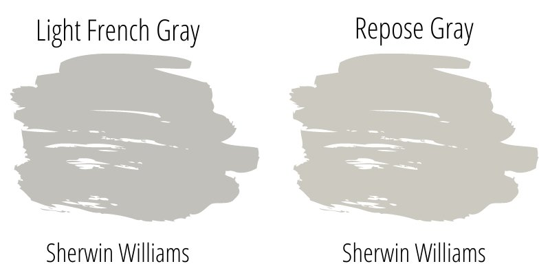 light french gray color swatch compared to repose gray color swatch