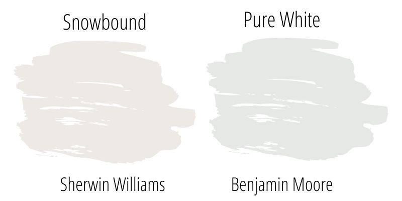 Paint Swatch side by side comparison: Sherwin Williams Snowbound vs. Benjamin Moore Pure White