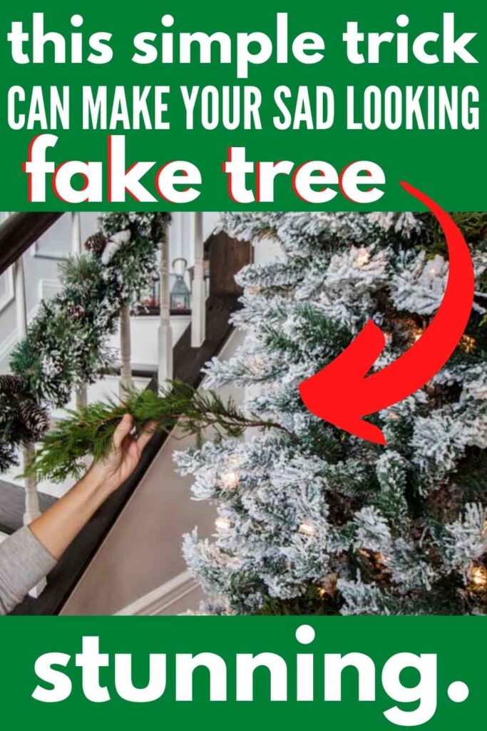 """putting branch in fake tree-text """"this simple trick can make your sad looking fake tree stunning"""""""
