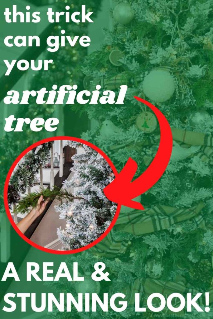 """putting real branch in artificial tree - text """"this trick can give your artificial tree a real & stunning look"""""""