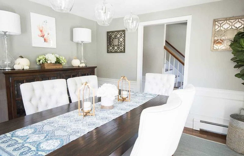 Dining room painted Mindful Gray with white wainscotting