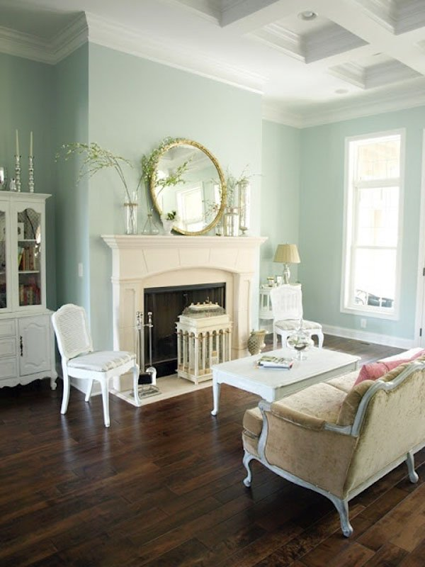 Formal sitting room with antique furniture, white fireplace and ceiling and Sherwin Williams Rainwashed on the walls.