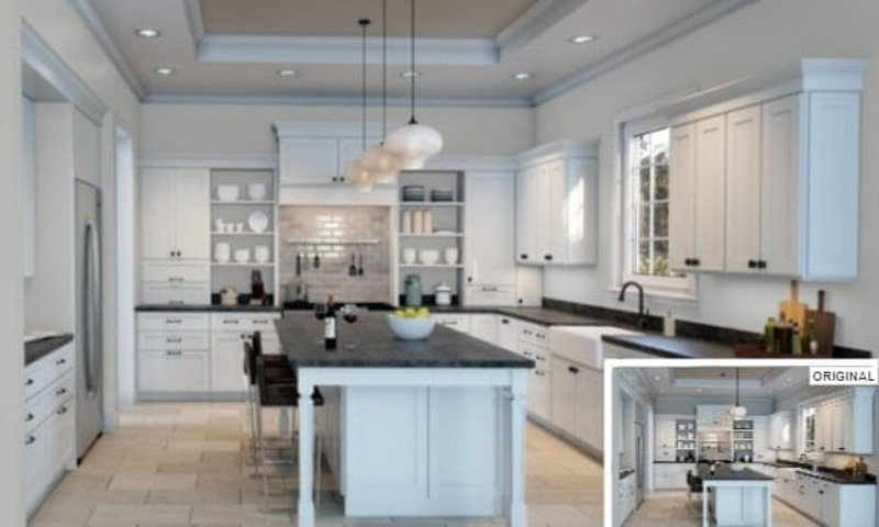 Passive Gray Sherwin Williams in kitchen with white cabinetry and open shelving
