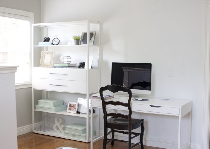 Simple, white home office space using Decorator's White paint on the walls.