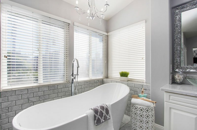 Gray and white bathroom with Silver Satin walls
