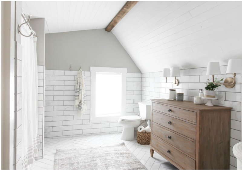 Bathroom painted white and mindful gray