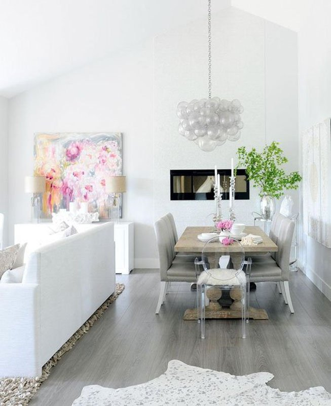 Silver Satin paint on the walls look light and airy in this open living space with vaulted ceilings