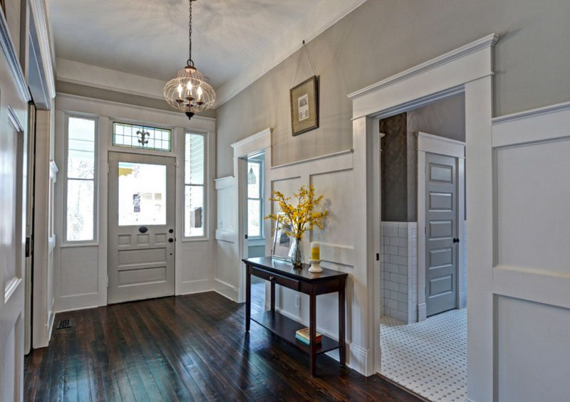 Entryway painted Mindful Gray