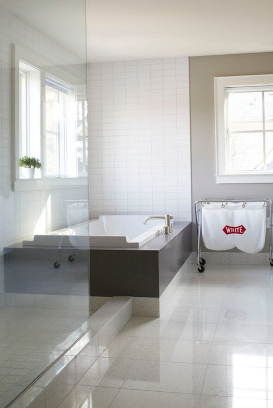 Bathroom with a Mindful Gray accent wall