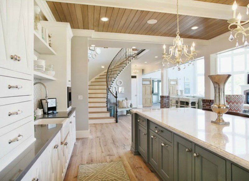 Passive Gray Sherwin Williams in kitchen with white cabinetry