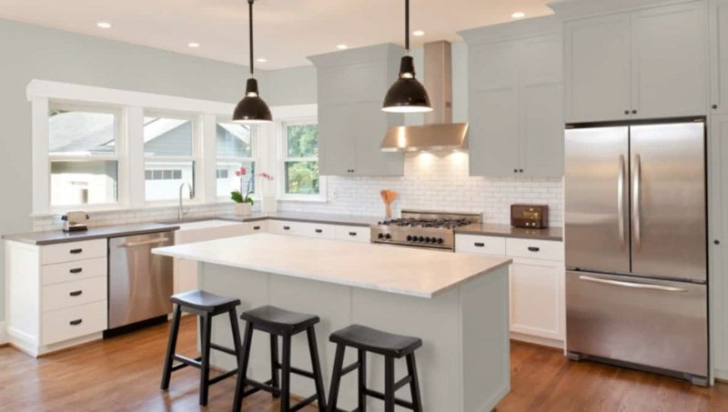 Mindful gray upper cabinets and island with white lower cabinets