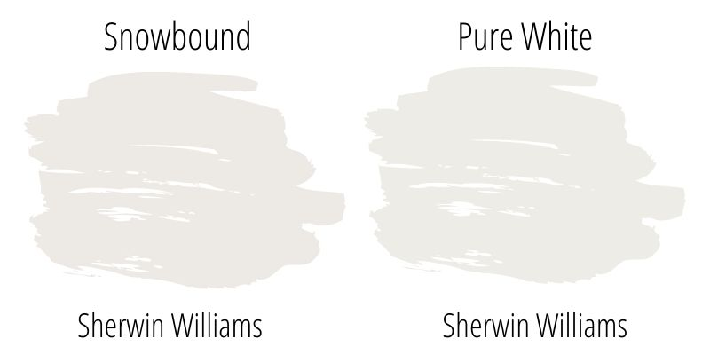 Snowbound versus Sherwin Williams Pure White swatches