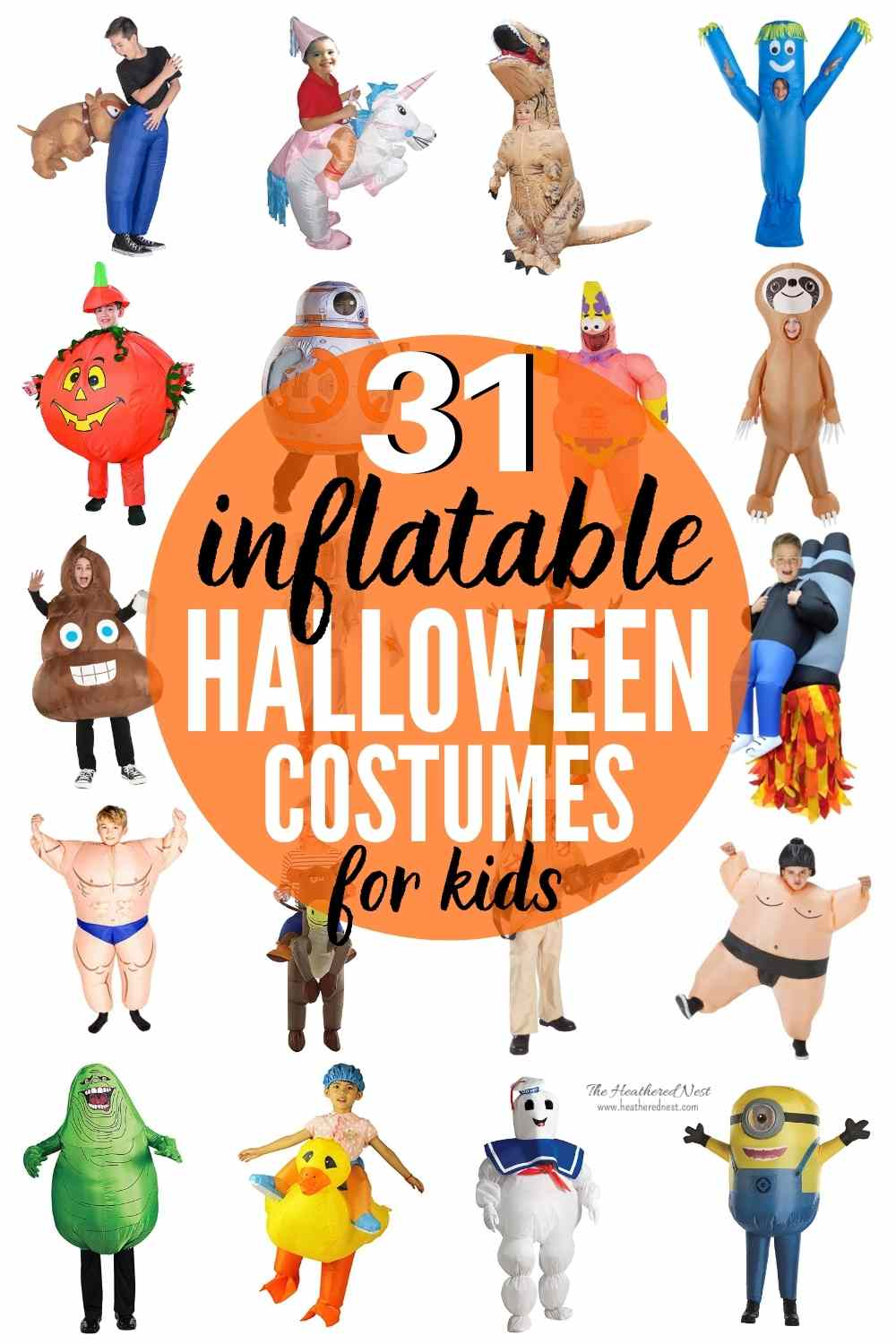 """collage image of 31 \""""epic inflatable costumes for kids under $50\"""""""