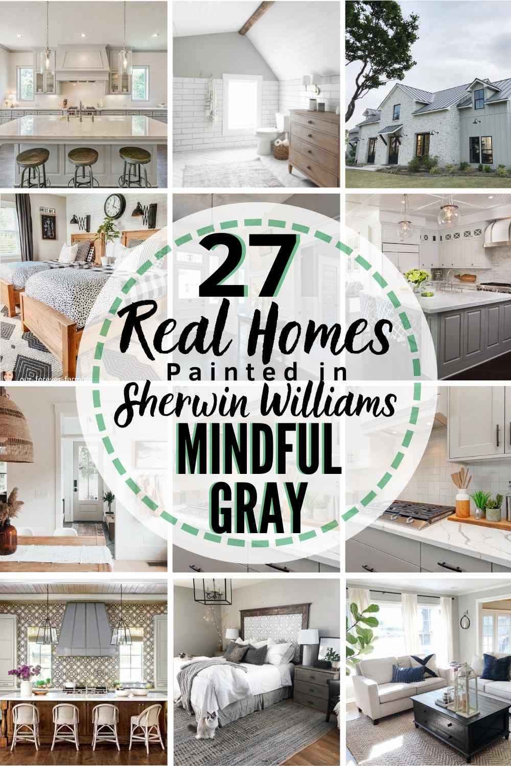 grid of 12 homes painted with Sherwin Williams Mindful Gray