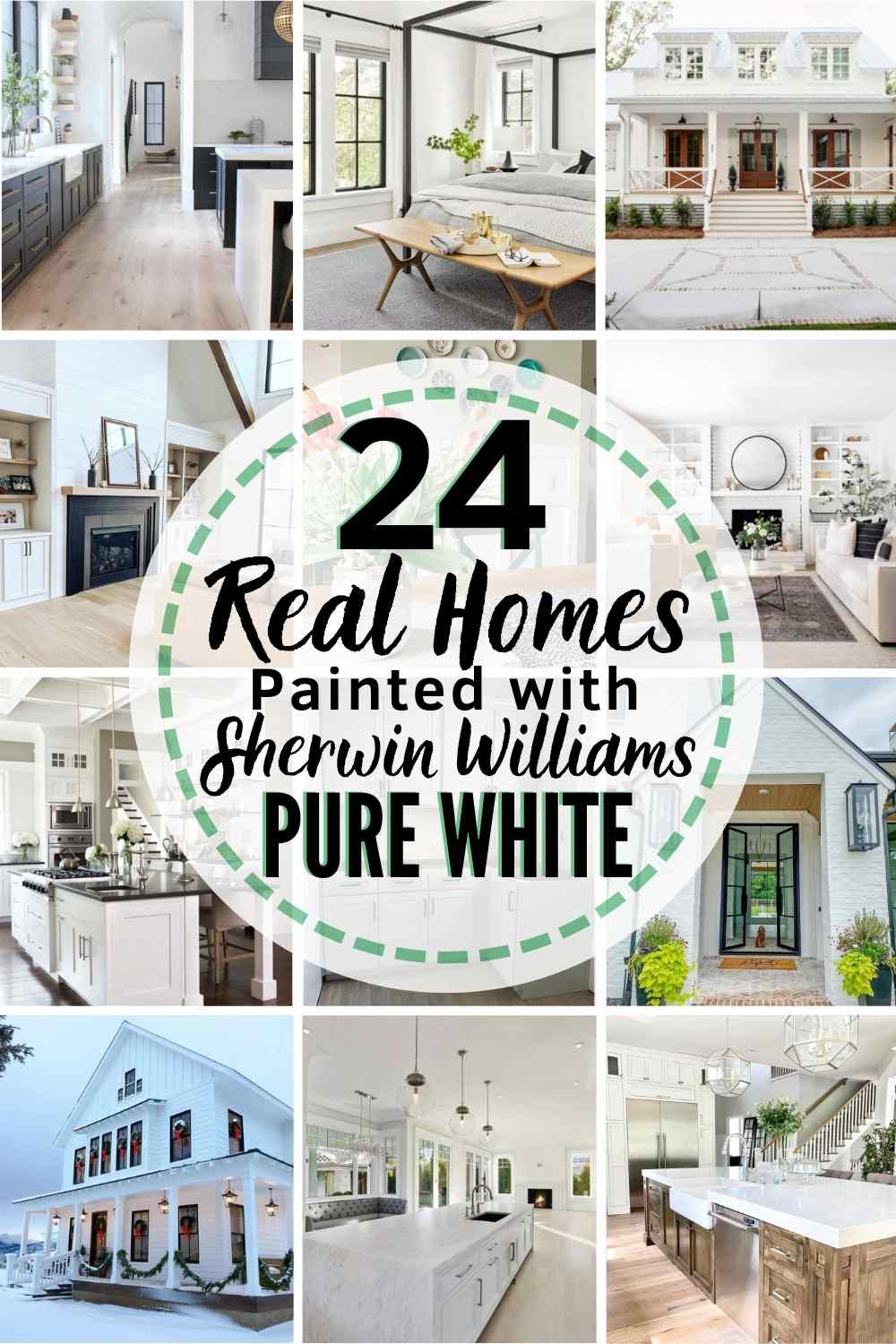 "grid of 12 homes painted with Sherwin Williams Pure White text ""24 real homes painted with sherwin williams pure white"""