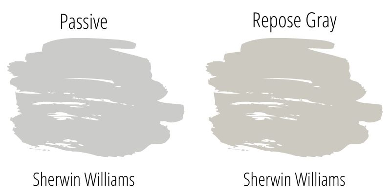 swatch comparison of Sherwin Williams Passive with Sherwin Williams Repose Gray