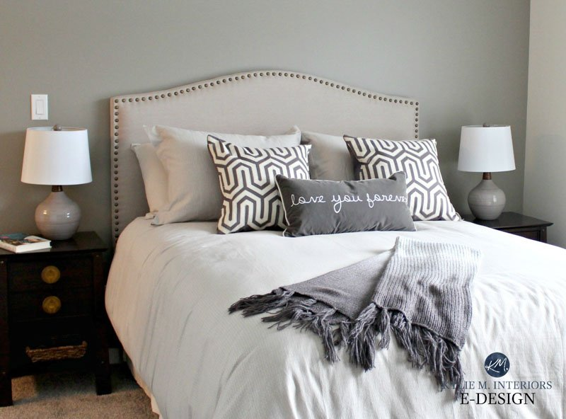 Cozy, neutral bedroom with Dorian Gray walls and decorated in shades of white and gray.