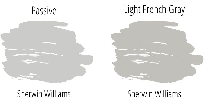 swatch comparison of Sherwin Williams Passive with Sherwin Williams Light French Gray