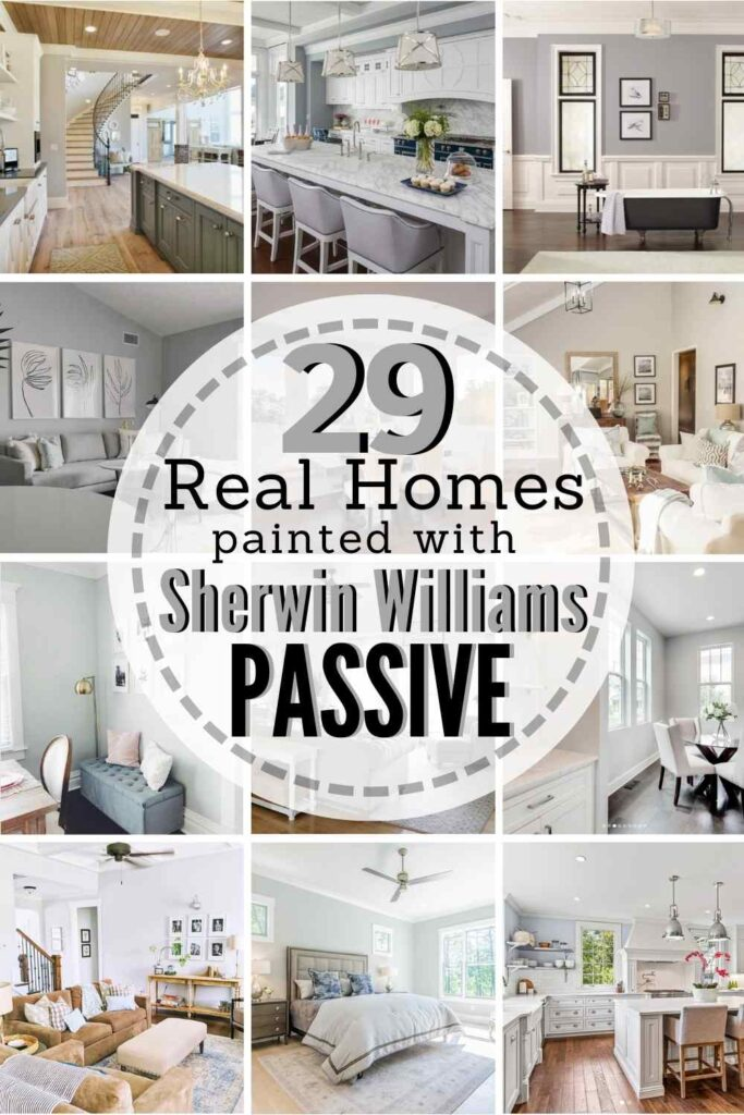 """grid with 12 painted rooms. text: """"29 real homes painted with Sherwin Williams Passive"""""""
