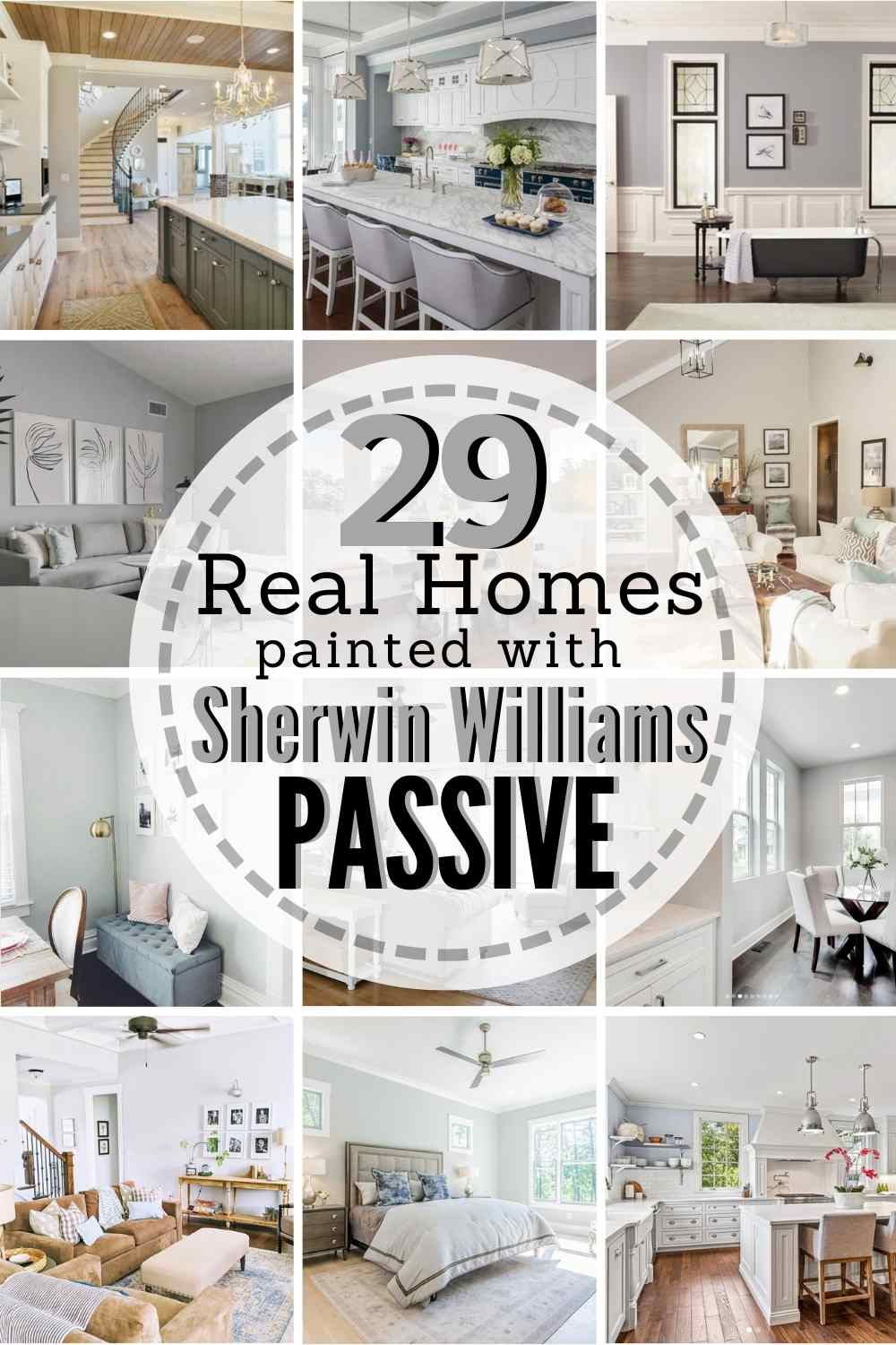 "grid with 12 painted rooms. text: ""29 real homes painted with Sherwin Williams Passive"""