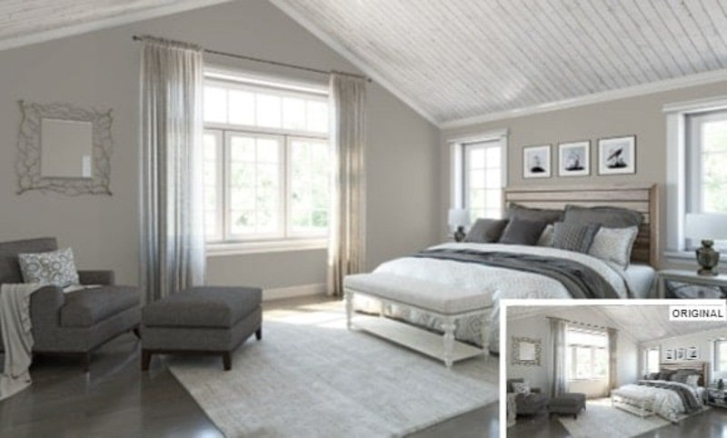 bedroom painted with Dorian Gray paint