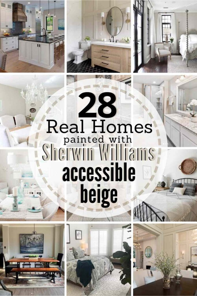 """grid with 12 painted rooms. text: """"28 real homes painted with Sherwin Williams Accessible Beige"""""""