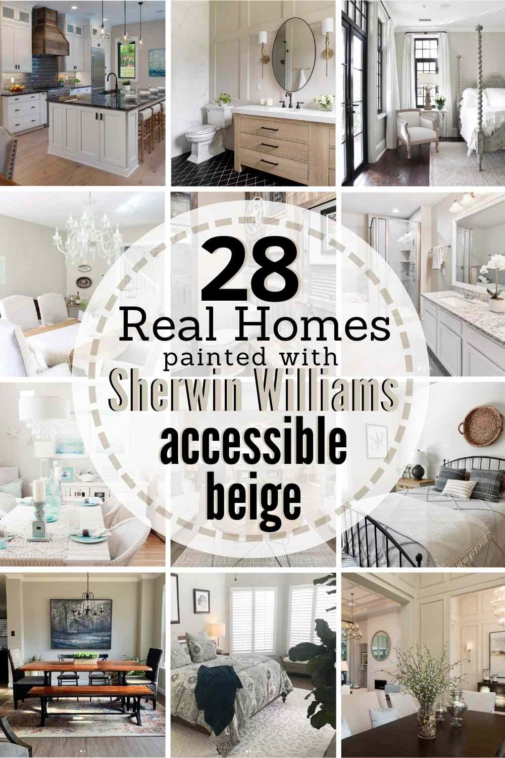 "grid with 12 painted rooms. text: ""28 real homes painted with Sherwin Williams Accessible Beige"""