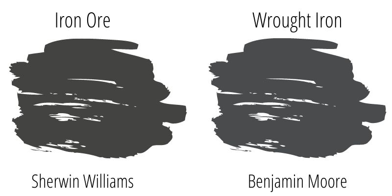 Sherwin Williams Iron Ore versus Benjamin Moore Wrought Iron swatches