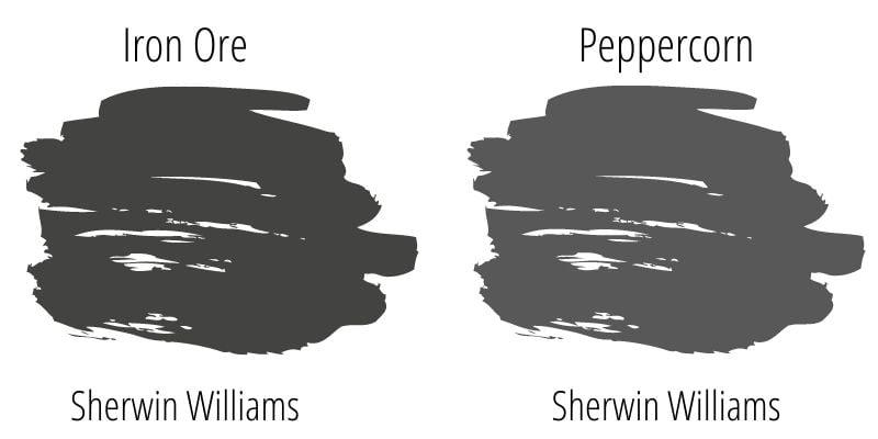 Sherwin Williams Iron Ore versus Sherwin Williams Peppercorn swatches