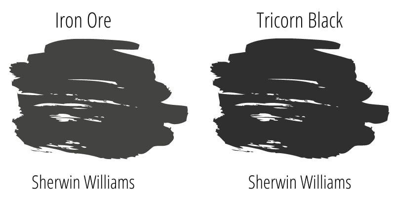 Sherwin Williams Iron Ore versus Sherwin Williams Tricorn Black swatches