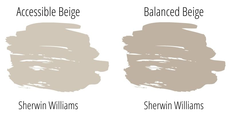 Paint Swatch Comparison of Sherwin Williams Balanced Beige versus Sherwin Williams Accessible Beige