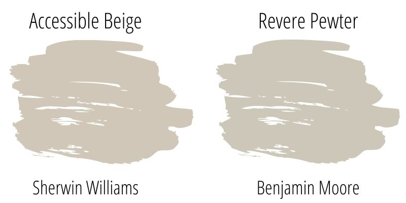 Paint Swatch Comparison of Benjamin Moore Revere Pewter versus Sherwin Williams Accessible Beige