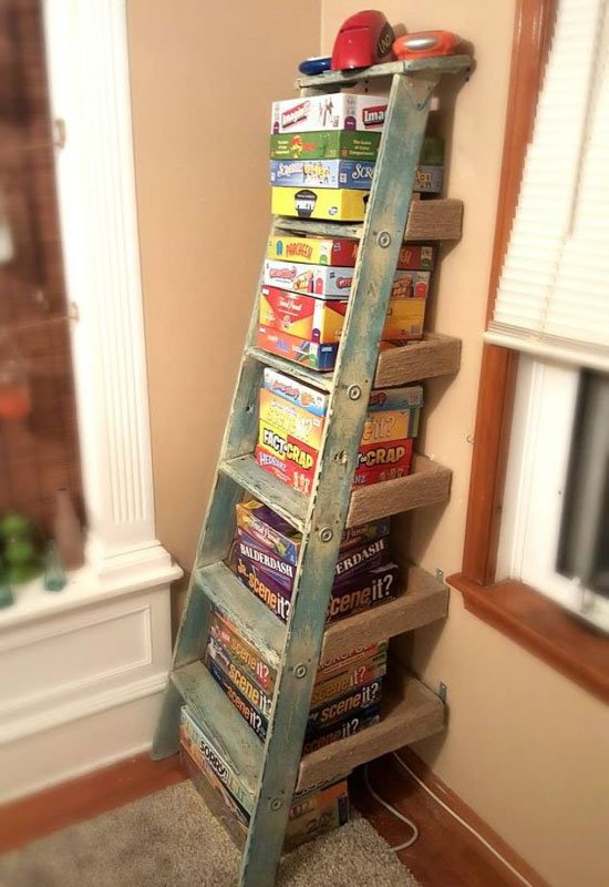 Stepladder bookcase for board game storage.